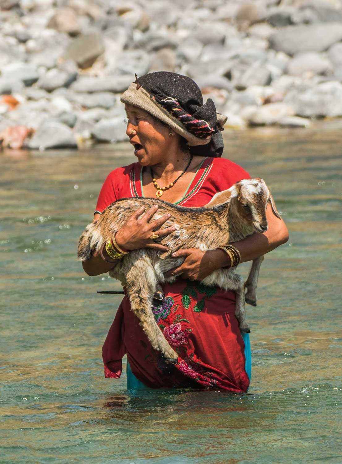 Woman carrying a goat crossing a river - WildWorldSafaris.com